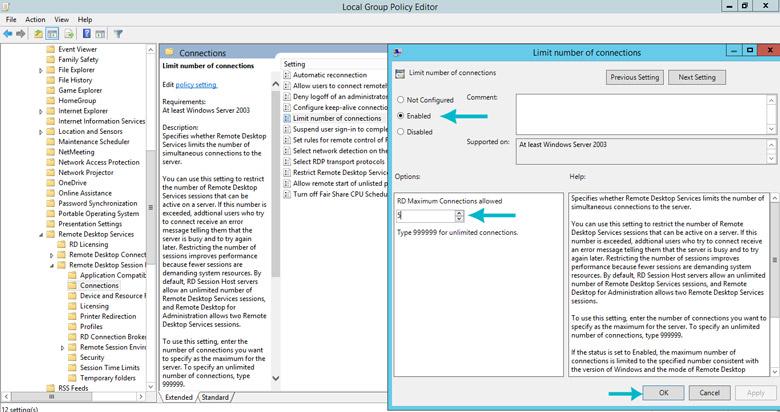 وصل شدن همزمان بیش از 2 کاربر به windows server 2012 r2